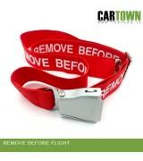 Belt Remove Before Flight Red