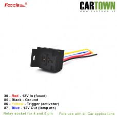 Foocle CTX Reläsockel med fäste 4 - 5 pin