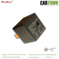 Relä Foocle 820 12VDC med spärrdiod 40A 4-pol