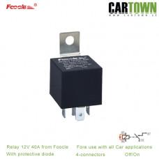 Relä 12VDC 4-pol med spärrdiod 40A  Foocle 820