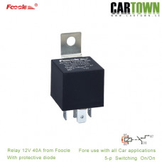 Relä Foocle 820 12VDC med spärrdiod 40A 5-pol