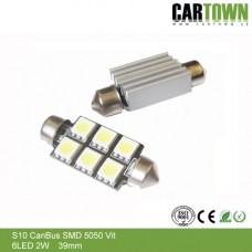 LED CANBUS S10 6 SMD Vit/Blå/Röd (2st)