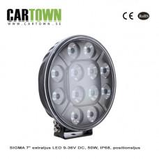 Extraljus SIGMA 7″ LED 9-36V DC, 50W, IP68, positionsljus
