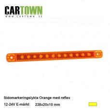 Sidomarkering 12 LED Orange, reflex 12-24V