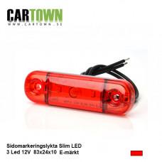 Positionsljus 3 LED Röd slim 12-24V