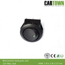 Switch Brytare Mini On/Off (grön diod)