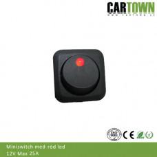 Switch Brytare Mini On/Off (röd diod)